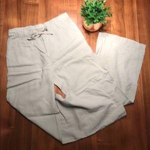 Beige Linen Wide Leg Pants